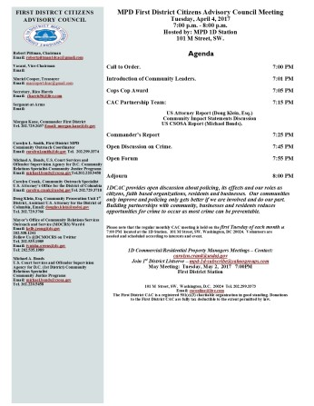 April 4 2017 Agenda