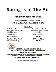 C.A.C. Fish Fry Benefit March 2014 Menu
