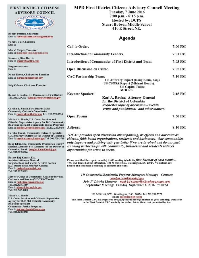June 7 2016 Agenda