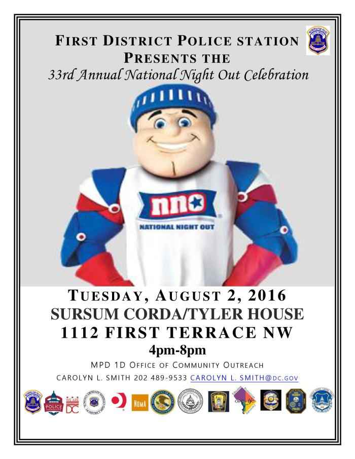 National Night Out Invite Flyer 2016 First District Event