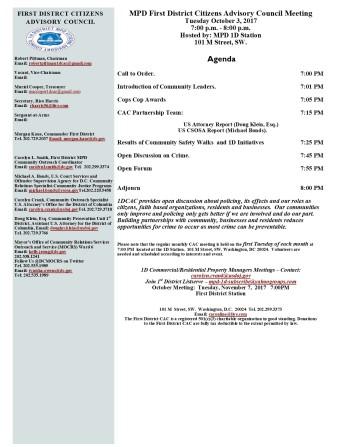 October 3, 2017 Agenda