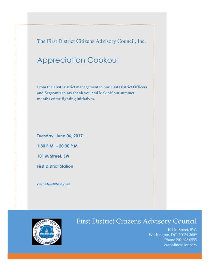 The First District Citizens Advisory Council Appreciation Cookout for Officers 060617