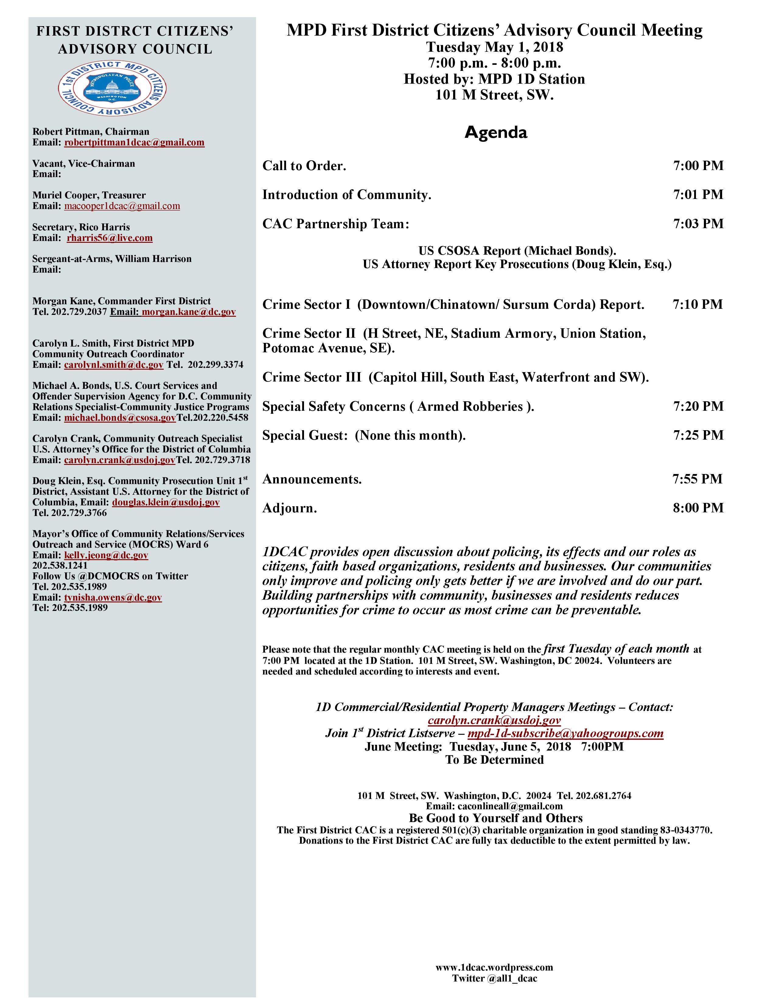 May 1, 2018 Agenda