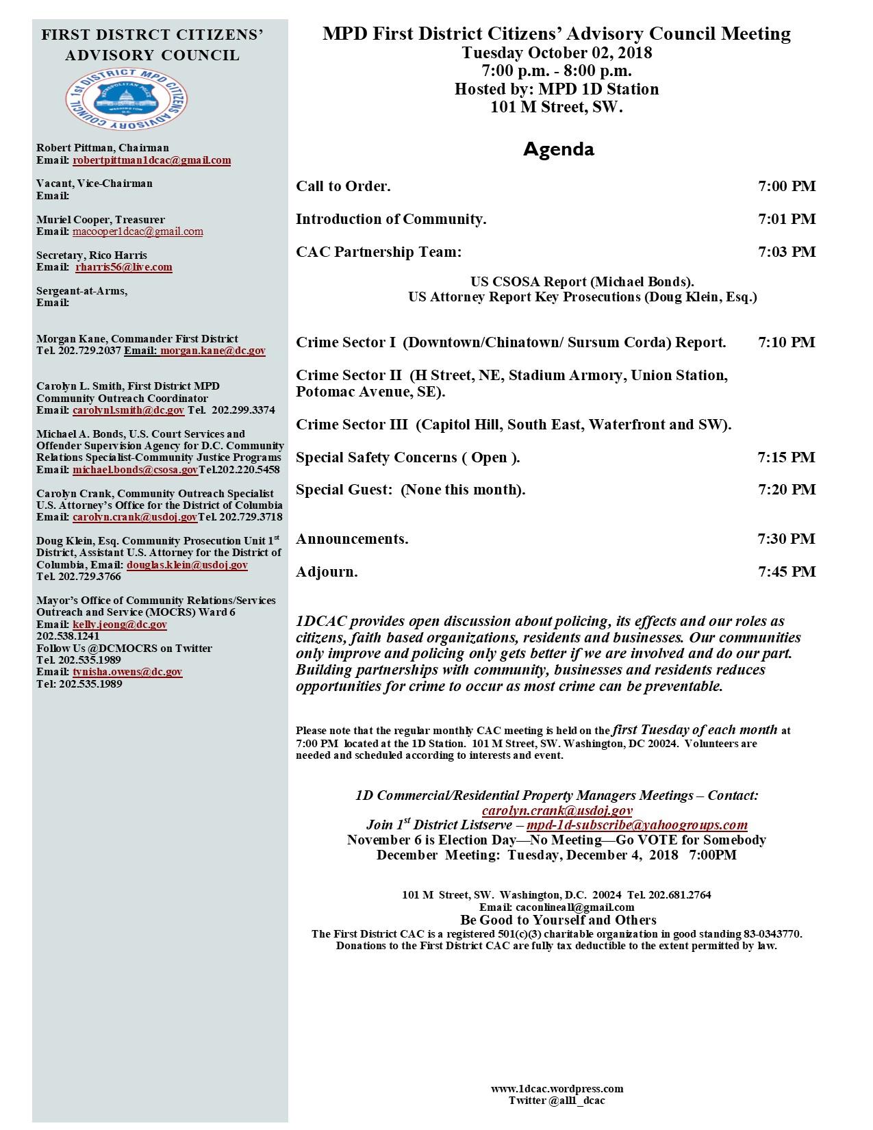 October 2, 2018 Agenda